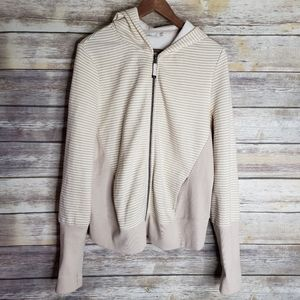 Prana striped zip up hooded jacket